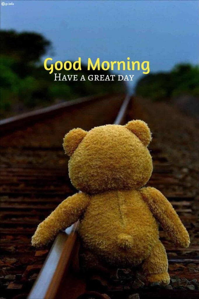 Cute good morning image with teddy bear