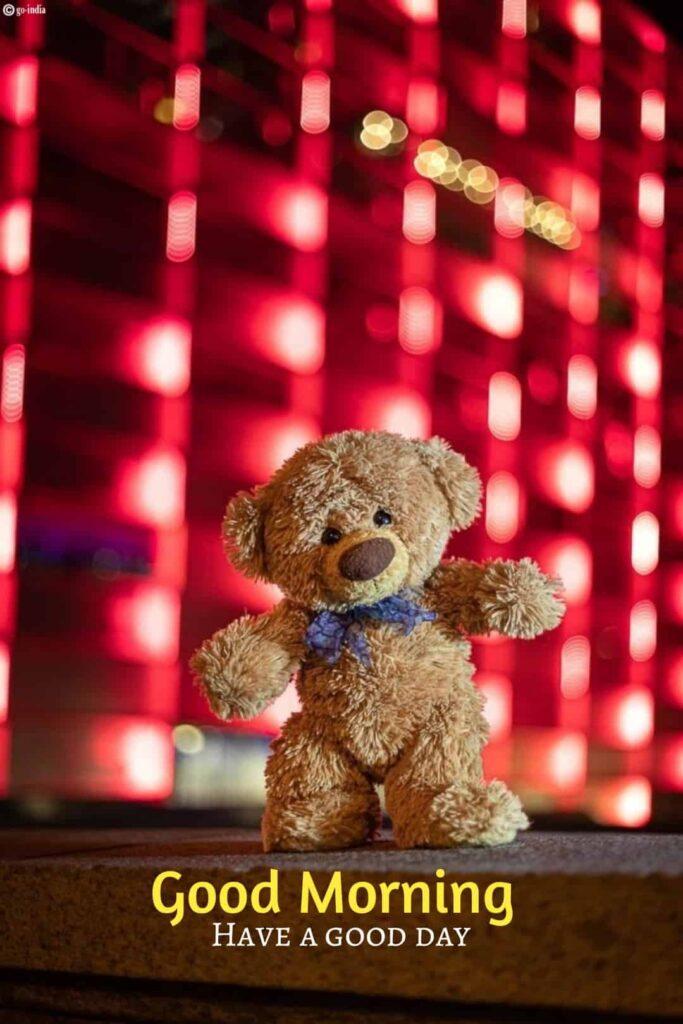 Funny teddy bear image good morning