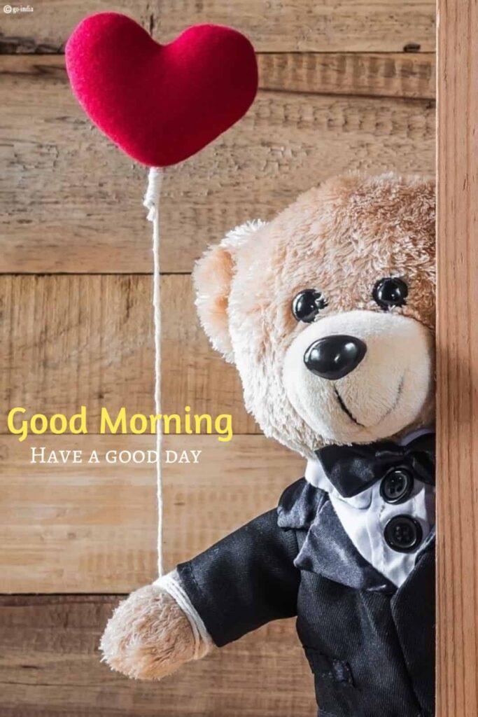 Good morning teddy bear image with heart