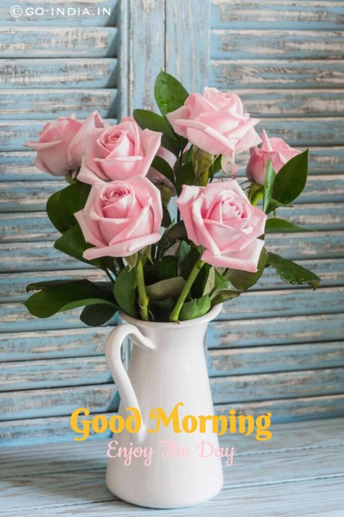 good morning images with pink rose bouquet