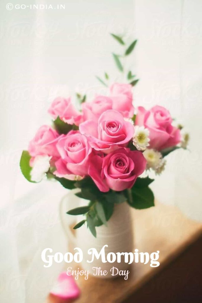 good morning images with rose bouquet