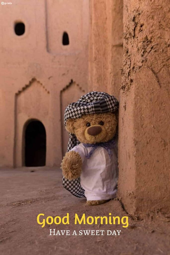 happy teddy bear image with good morning